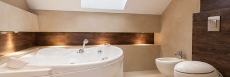 Modern bathroom with bath, bidet and toilet photo