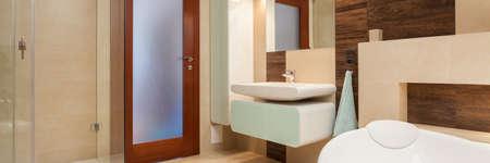 Elegant bathroom interior with bath and shower photo