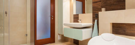 hydromassage: Elegant bathroom interior with bath and shower Stock Photo