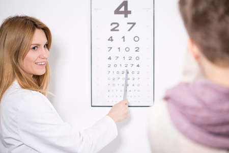 contact lenses: Young pretty female ophthalmologist pointing the number on chart