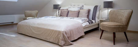 double bed: Panorama od beauty luxury bedroom with double bed Stock Photo