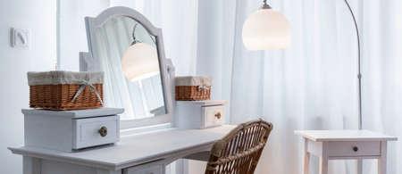 Beautiful white dressing table in elegant bedroom, panorama