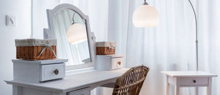 Beautiful white dressing table in elegant bedroom, panorama
