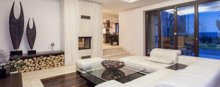Luxe woonkamer met prachtige decoratie, panorama