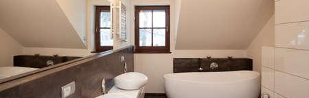 black bathroom: Panoramic view of white and black bathroom interior