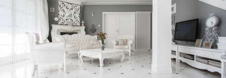 Panorama of luxury vintage style family room Stock Photo