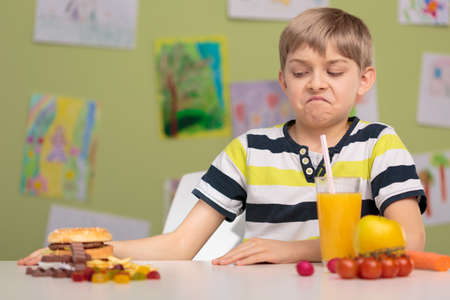 schoolchild: Schoolchild choosing healthy food for school lunch