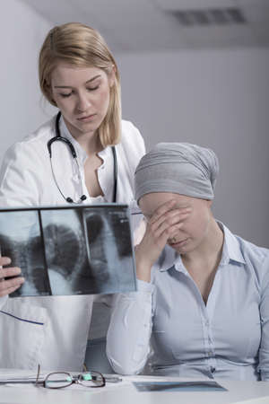 specialization: Image of crying woman having brain tumor