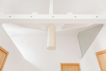 suspended: Interior with suspended ceiling and modern pendant