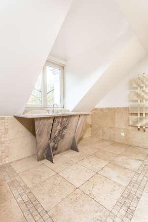 handbasin: View of small window at the luxury bathroom Stock Photo