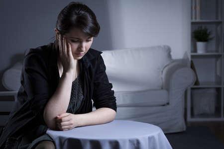 bereavement: Portrait of despair widow being in mourning