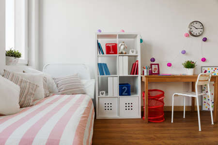 bedroom: Interior of childs room in pastel colors