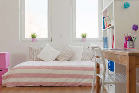 bedroom: Interior of beauty pastel room for schoolchild
