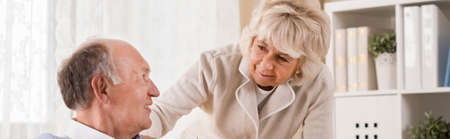 life support: Panorama of aged couple being on retirement Stock Photo