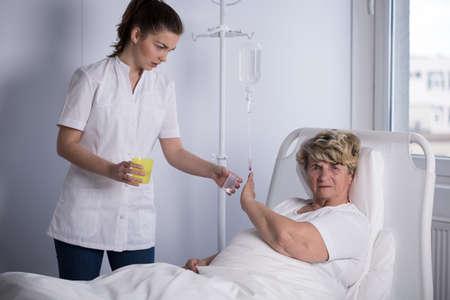 Elder patient refusing to take a medicine
