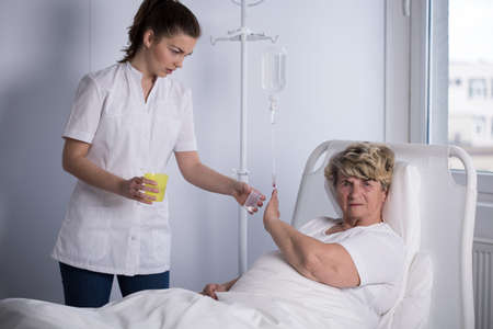 refusing: Elder patient refusing to take a medicine