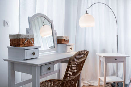 Beautiful white dressing table in the new apartment