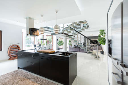 modern lifestyle: Luxurious interior of a large estate Stock Photo