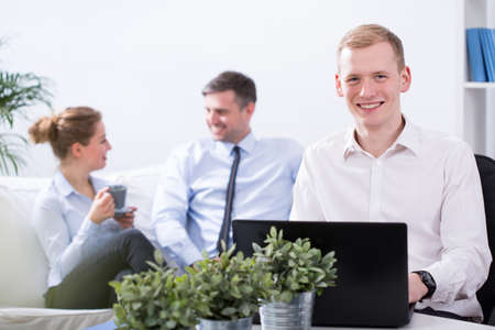 Employees having pleasant atmosphere in the office
