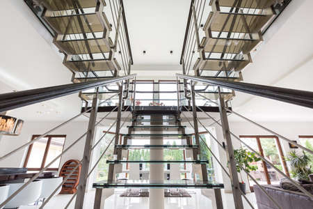 the residence: The staircase in the spacious modern residence