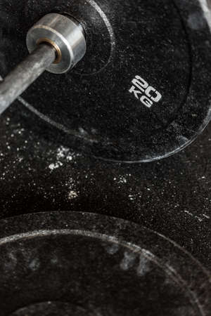 kilograms: Close-up of twenty kilograms barbell plate Stock Photo