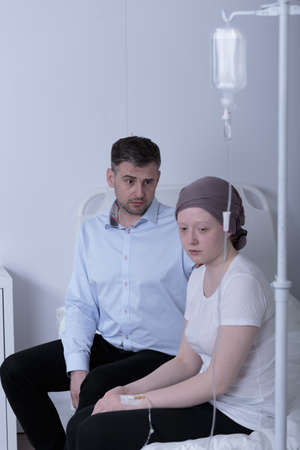 chemotherapy: Cancer girl during chemotherapy treatment in hospital Stock Photo
