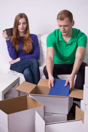 moving out: Image of marriage moving out from their home Stock Photo