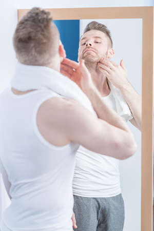 narcissistic: Image of attractive man caring about beard