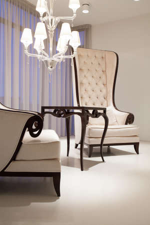 White elegant living room with two vintage style armchairs photo