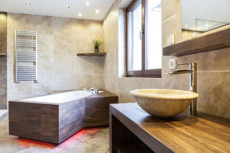 apartment: Amazing interior of the bathroom in a fashionable apartment