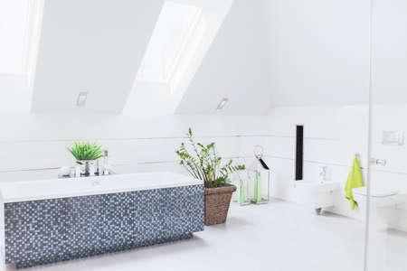 mosaics: Spacious white bathroom with big mosaic bath