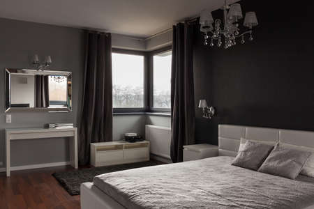 bedroom wall: Dark expensive bedroom with black and grey walls