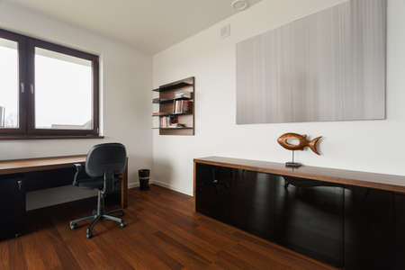 home office interior: New fashionable study room with wooden floor