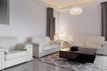 room decoration: Contemporary cozy family room with three comfortable sofas