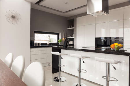 Contemporary decor of new kitchen in expensive house