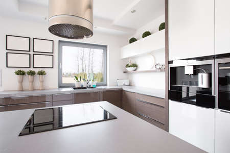 hood: Up-to-date decor of kitchen with hob on island