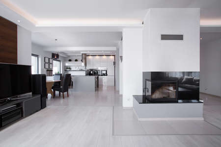 bright space: Big bright space in room with fireplace and home cinema Stock Photo