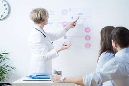 Experienced gynecologist explaining to infertile couple in vitro method Stock Photo