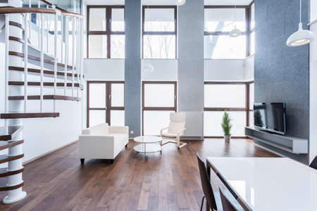 Spacious and original living room in modern apartment