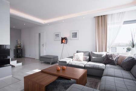 Hedendaags design van de ruime woonkamer met een grote bank