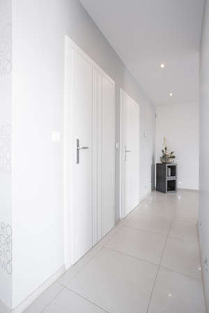 anteroom: White long corridor with shining marble floor