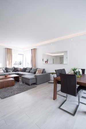 Amplia sala de estar luminosa con una decoración exclusiva moderna