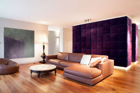 Leather couch in new modern lounge with wooden parquet Stock Photo