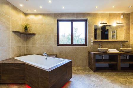 bathroom wall: Luxury bathroom in a beautiful modern residence