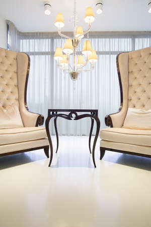 Two Elegant Chairs With Fancy Coffee Table Photo