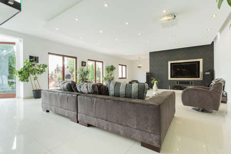 view of a spacious living room: Spacious bright living room in a modern house