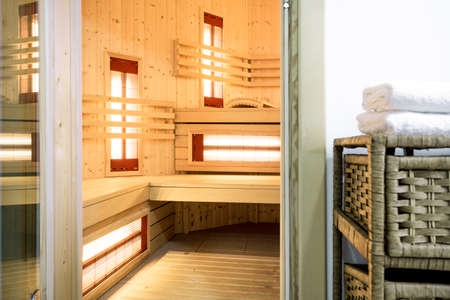 Inside of modern sauna in the residence photo