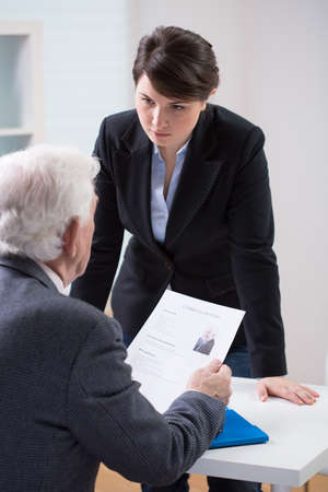 new employee: Hiring new employee in a business office Stock Photo