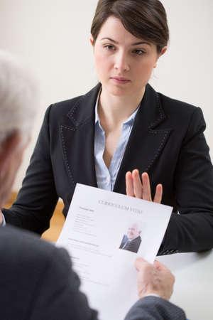 employment agency: Woman during enrolment in a employment agency