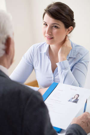 first job: Young and attractive woman applying for her first job